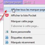 Exportation des favoris vers les marque-pages - Etape 1